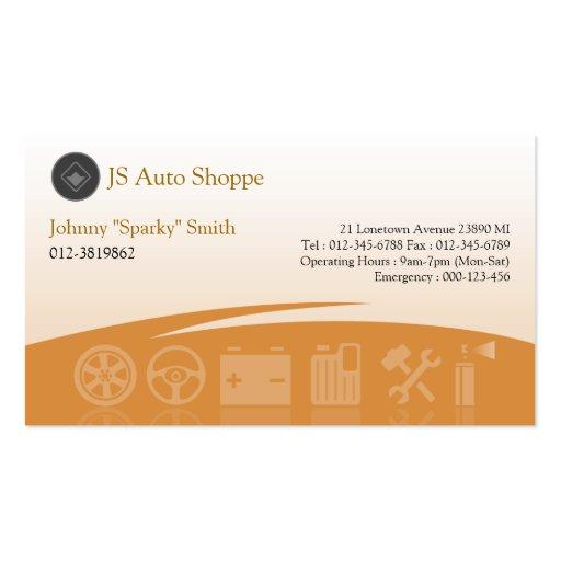 Car Service Icons Orange Business Card
