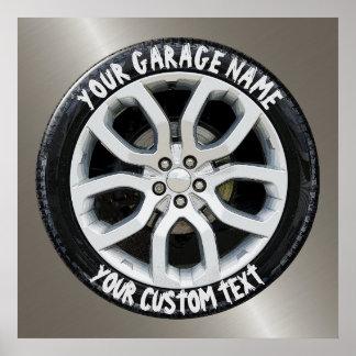 Car Service Repair Garage Owner Tire Wheel Custom Poster