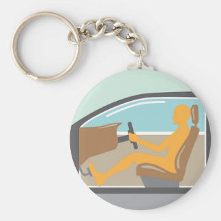 Car side view Person no airbag Basic Round Button Keychain