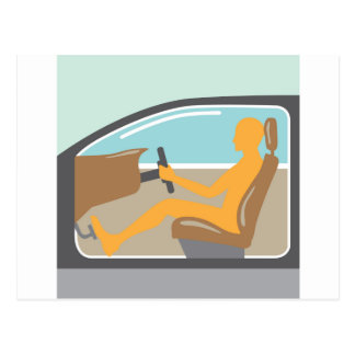 Car side view Person no airbag Postcard