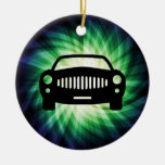 Car Silhouette; Cool Double-Sided Ceramic Round Christmas Ornament