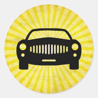 Car Silhouette; Yellow Classic Round Sticker