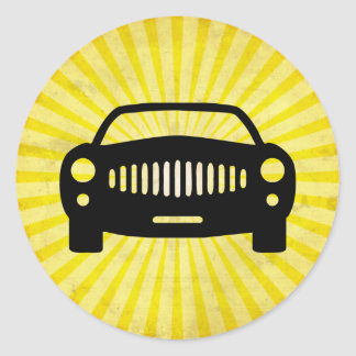 Car Silhouette; Yellow Stickers
