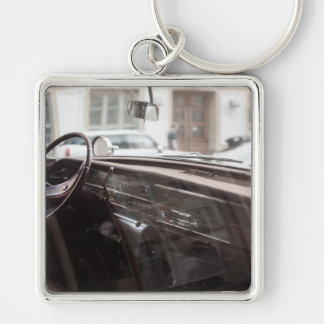 car Silver-Colored square keychain
