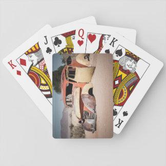 Car Skeleton in the desert. Playing Cards