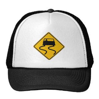 Car Slippery When Wet, Traffic Warning Sign, USA Hat
