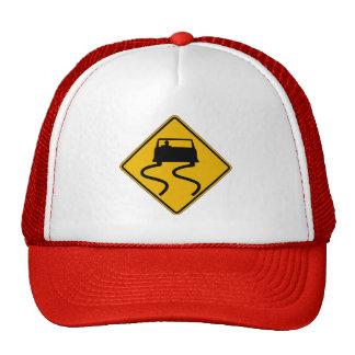 Car Slippery When Wet, Traffic Warning Sign, USA Trucker Hats