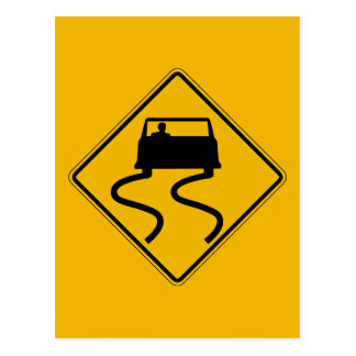 Car Slippery When Wet, Traffic Warning Sign, USA Postcard