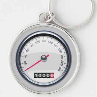 Car Speedometer White Keychain
