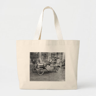 Car Strike Hitchhikers, early 1900s Canvas Bags
