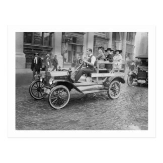 Car Strike Hitchhikers, early 1900s Postcard
