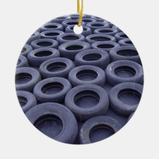 Car Tires Double-Sided Ceramic Round Christmas Ornament