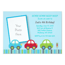 Car Transportation Birthday Invitations