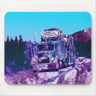 Car Transporter Truck Highway Driving Art Mousepad