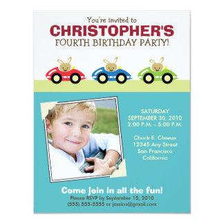 Car Trio Boy's Aqua Birthday Party Invitation
