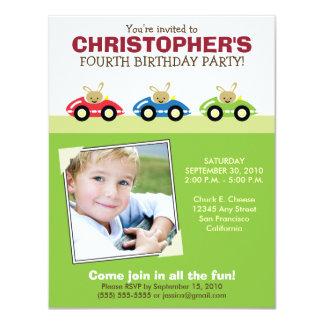 Car Trio Boy's Green Birthday Party Invitation