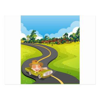 Car trip postcard