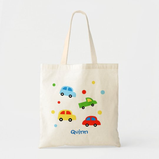 Car Truck Personalized kid name canvas bag
