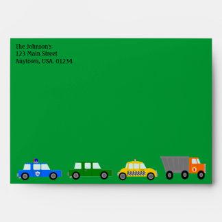 Car, Trucks and Street Signs Envelope