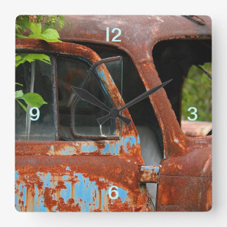 Car Vintage Square Wall Clock