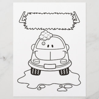 Car Wash Cartoon Coloring Book Page