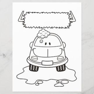 Car Wash Cartoon Coloring Book Page