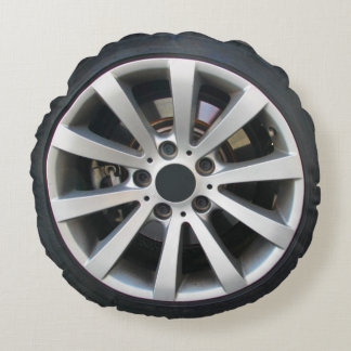 Car Wheel And Tire Round Pillow