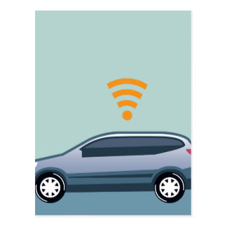 Car Wifi Vector Postcard