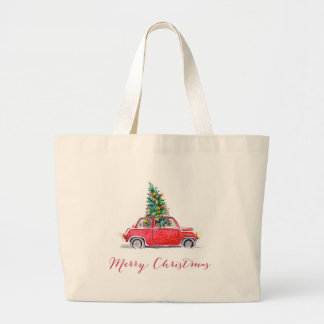 car with a christmas tree large tote bag