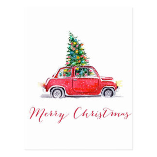 car with a christmas tree postcard