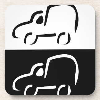 Car with abstract lines drink coaster