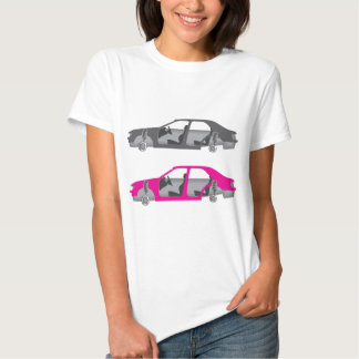 Car with wheels off doors off auto body t-shirt