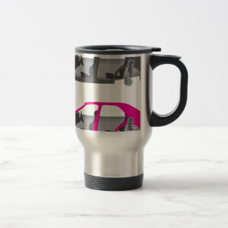 Car with wheels off doors off auto body travel mug