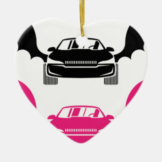 Car with wings ceramic ornament