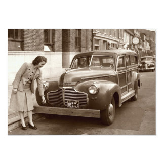 Car with Wooden Bumper WWII 5x7 Paper Invitation Card