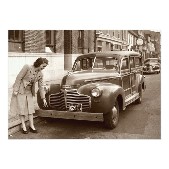Car with Wooden Bumper WWII Card