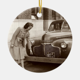 Car with Wooden Bumper WWII Double-Sided Ceramic Round Christmas Ornament