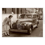 Car with Wooden Bumper WWII Greeting Card