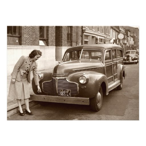 Car with Wooden Bumper WWII Custom Invite