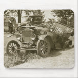 Car Wreck Marine City MI July 1930s - Vintage Mousepad