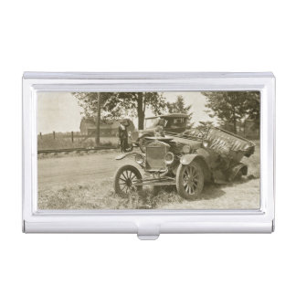 Car Wreck Marine City Michigan Model T Vintage Case For Business Cards