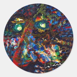 Cara 1 del alma del hombre del árbol pegatina redonda
