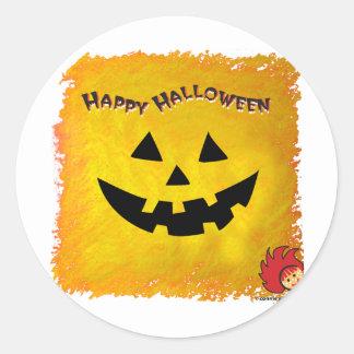 Cara 2 de la calabaza de Halloween Pegatina Redonda