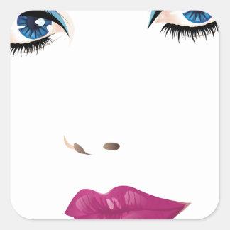 Cara 2 de la mujer de la belleza pegatina cuadrada