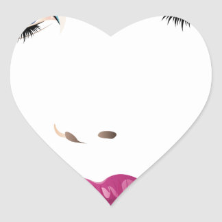Cara 2 de la mujer de la belleza pegatina en forma de corazón