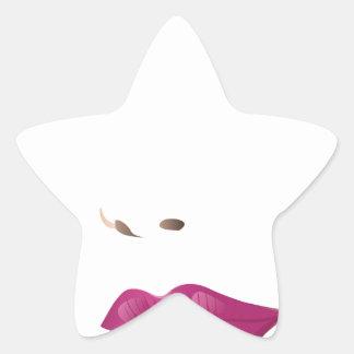 Cara 2 de la mujer de la belleza pegatina en forma de estrella