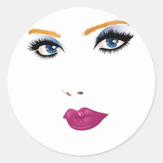 Cara 2 de la mujer de la belleza pegatina redonda