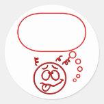 Cara #3 (con la burbuja del discurso) pegatina redonda