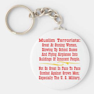 Cara a cara no tan grande musulmán de los terroris llavero redondo tipo pin