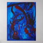 Cara abstracta azul y roja impresiones